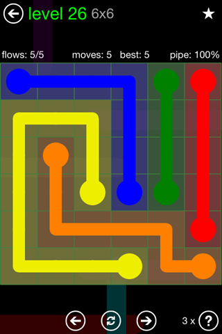 Solution and Answer to the Puzzle for Flow Green Pack Set 6x6 Level 26