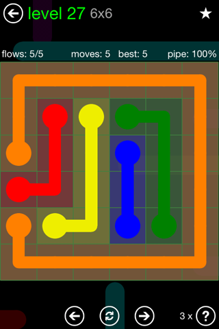 Solution and Answer to the Puzzle for Flow Green Pack Set 6x6 Level 27