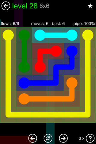 Solution and Answer to the Puzzle for Flow Green Pack Set 6x6 Level 28
