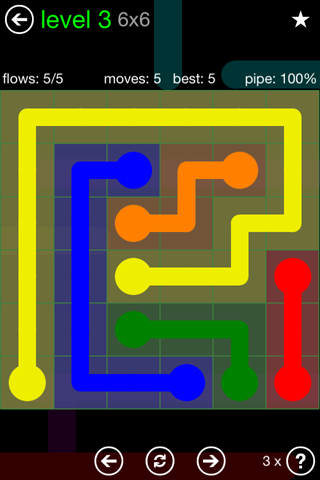Solution and Answer to the Puzzle for Flow Green Pack Set 6x6 Level 3