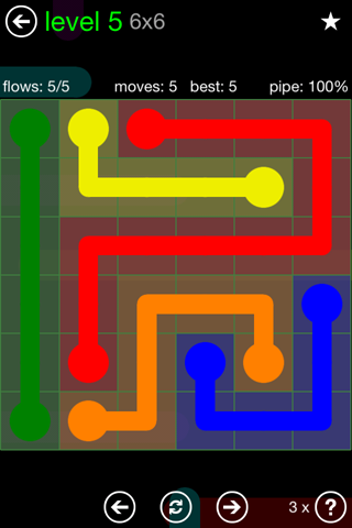 Solution and Answer to the Puzzle for Flow Green Pack Set 6x6 Level 5