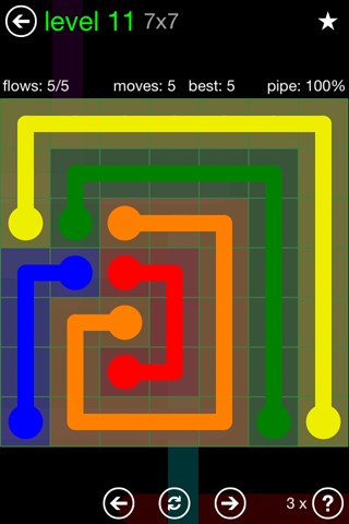 Solution and Answer to the Puzzle for Flow Green Pack Set 7x7 Level 11