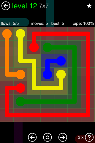 Solution and Answer to the Puzzle for Flow Green Pack Set 7x7 Level 12