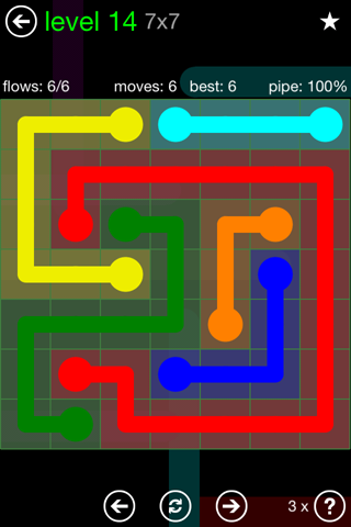 Solution and Answer to the Puzzle for Flow Green Pack Set 7x7 Level 14