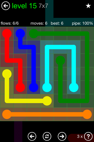 Solution and Answer to the Puzzle for Flow Green Pack Set 7x7 Level 15