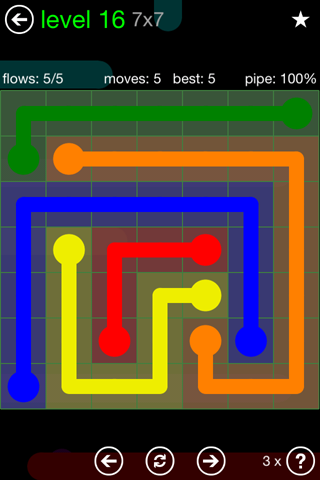 Solution and Answer to the Puzzle for Flow Green Pack Set 7x7 Level 16