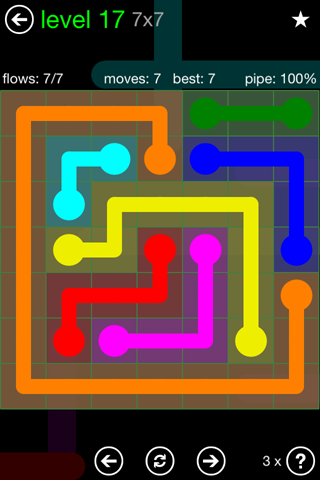 Solution and Answer to the Puzzle for Flow Green Pack Set 7x7 Level 17