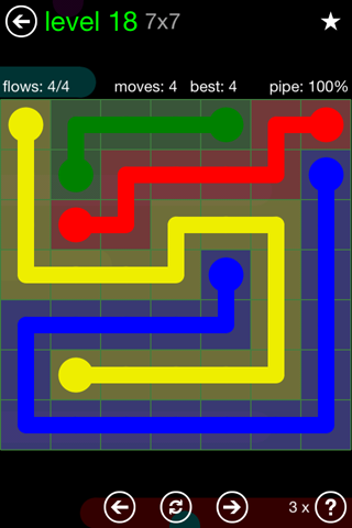 Solution and Answer to the Puzzle for Flow Green Pack Set 7x7 Level 18