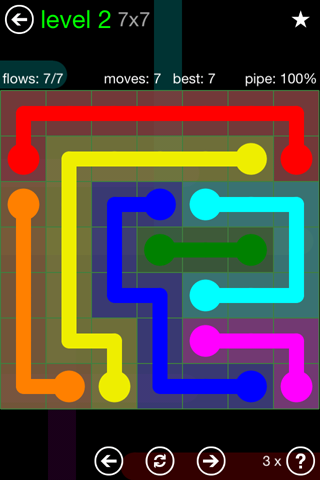 Solution and Answer to the Puzzle for Flow Green Pack Set 7x7 Level 2