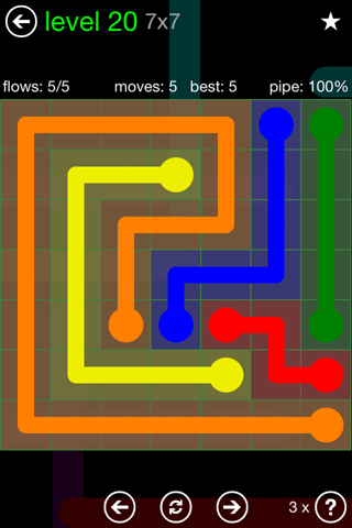 Solution and Answer to the Puzzle for Flow Green Pack Set 7x7 Level 20