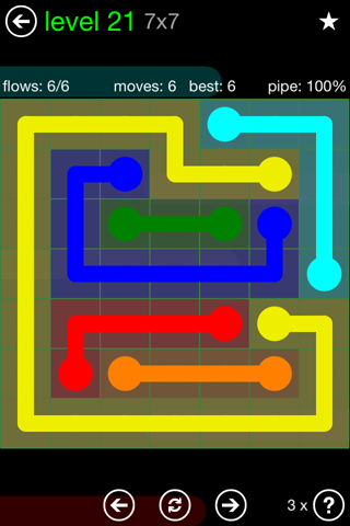 Solution and Answer to the Puzzle for Flow Green Pack Set 7x7 Level 21