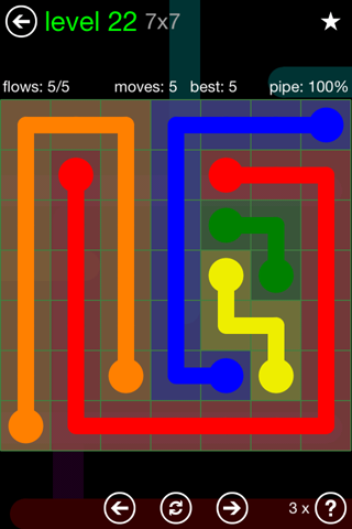 Solution and Answer to the Puzzle for Flow Green Pack Set 7x7 Level 22