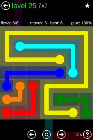 Solution and Answer to the Puzzle for Flow Green Pack Set 7x7 Level 25