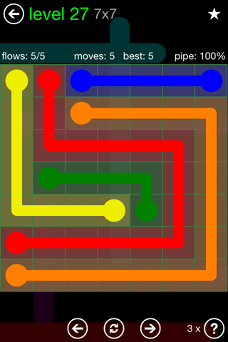 Solution and Answer to the Puzzle for Flow Green Pack Set 7x7 Level 27