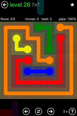 Solution and Answer to the Puzzle for Flow Green Pack Set 7x7 Level 28