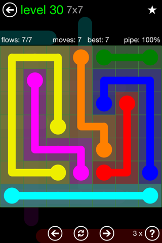 Solution and Answer to the Puzzle for Flow Green Pack Set 7x7 Level 30
