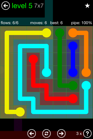 Solution and Answer to the Puzzle for Flow Green Pack Set 7x7 Level 5