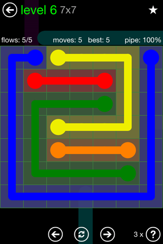 Solution and Answer to the Puzzle for Flow Green Pack Set 7x7 Level 6