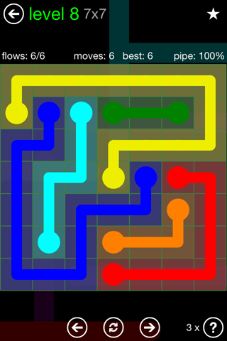Solution and Answer to the Puzzle for Flow Green Pack Set 7x7 Level 8