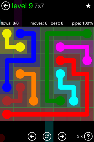 Solution and Answer to the Puzzle for Flow Green Pack Set 7x7 Level 9