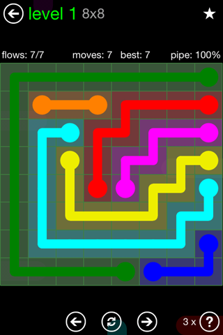 Solution and Answer to the Puzzle for Flow Green Pack Set 8x8 Level 1