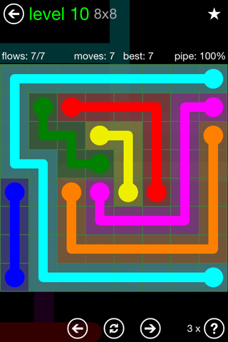 Solution and Answer to the Puzzle for Flow Green Pack Set 8x8 Level 10