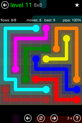 Solution and Answer to the Puzzle for Flow Green Pack Set 8x8 Level 11