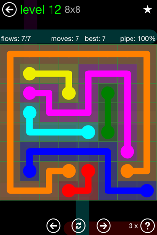 Solution and Answer to the Puzzle for Flow Green Pack Set 8x8 Level 12