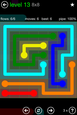 Solution and Answer to the Puzzle for Flow Green Pack Set 8x8 Level 13