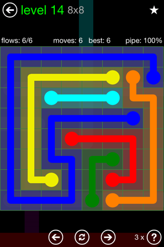 Solution and Answer to the Puzzle for Flow Green Pack Set 8x8 Level 14