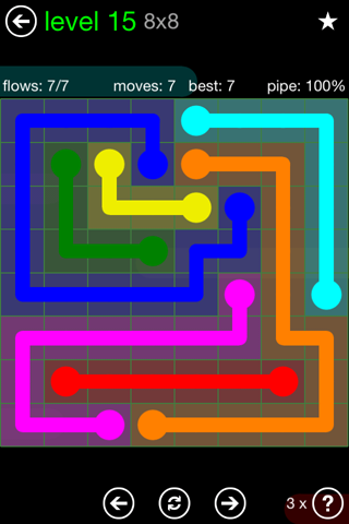Solution and Answer to the Puzzle for Flow Green Pack Set 8x8 Level 15