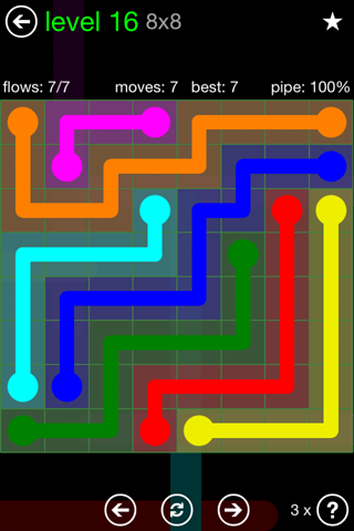 Solution and Answer to the Puzzle for Flow Green Pack Set 8x8 Level 16