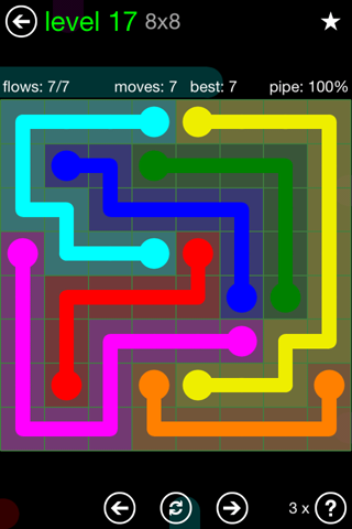 Solution and Answer to the Puzzle for Flow Green Pack Set 8x8 Level 17