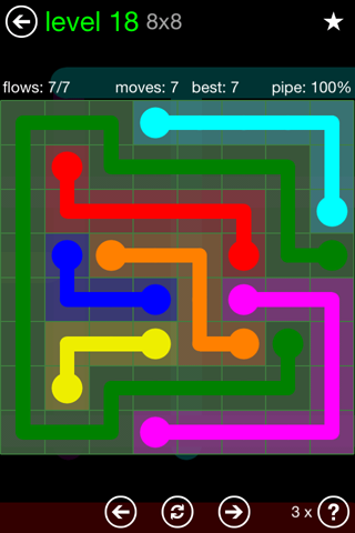 Solution and Answer to the Puzzle for Flow Green Pack Set 8x8 Level 18