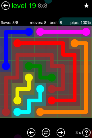 Solution and Answer to the Puzzle for Flow Green Pack Set 8x8 Level 19