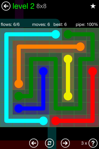 Solution and Answer to the Puzzle for Flow Green Pack Set 8x8 Level 2