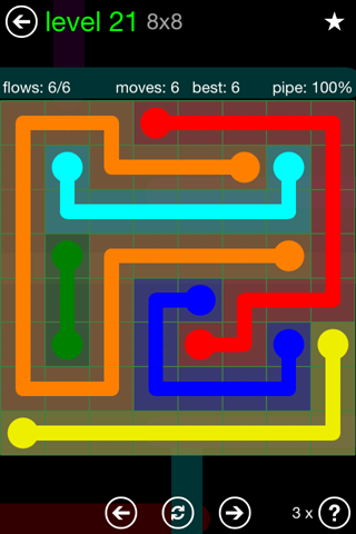 Solution and Answer to the Puzzle for Flow Green Pack Set 8x8 Level 21