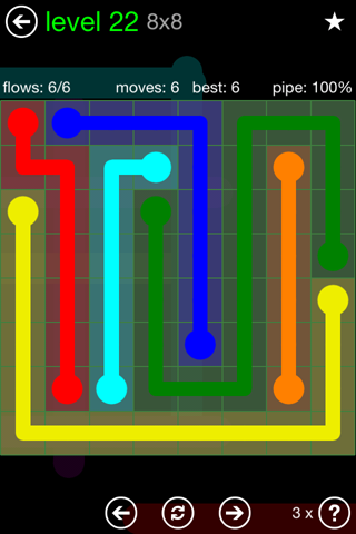 Solution and Answer to the Puzzle for Flow Green Pack Set 8x8 Level 22