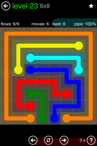 Solution and Answer to the Puzzle for Flow Green Pack Set 8x8 Level 23