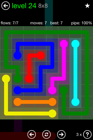 Solution and Answer to the Puzzle for Flow Green Pack Set 8x8 Level 24