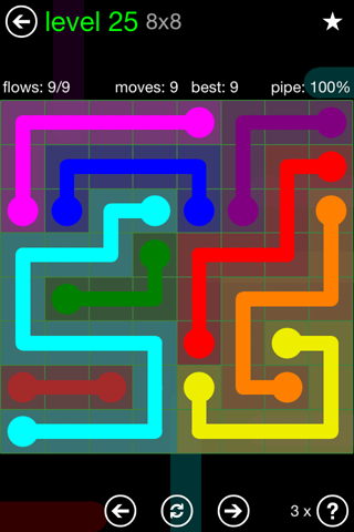 Solution and Answer to the Puzzle for Flow Green Pack Set 8x8 Level 25