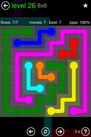 Solution and Answer to the Puzzle for Flow Green Pack Set 8x8 Level 26
