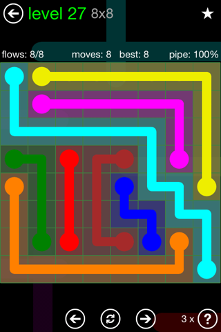 Solution and Answer to the Puzzle for Flow Green Pack Set 8x8 Level 27