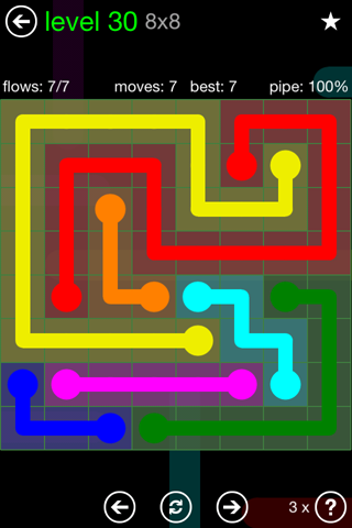 Solution and Answer to the Puzzle for Flow Green Pack Set 8x8 Level 30