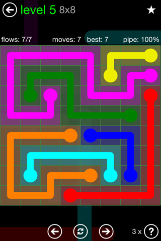 Solution and Answer to the Puzzle for Flow Green Pack Set 8x8 Level 5