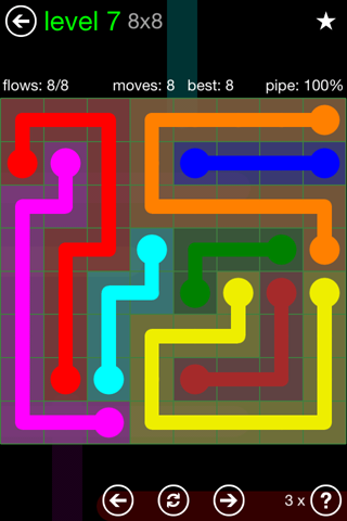 Solution and Answer to the Puzzle for Flow Green Pack Set 8x8 Level 7
