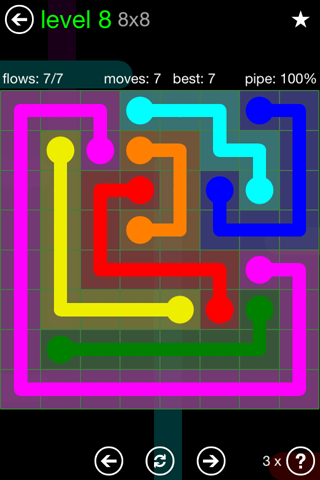 Solution and Answer to the Puzzle for Flow Green Pack Set 8x8 Level 8