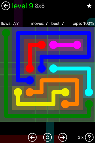 Solution and Answer to the Puzzle for Flow Green Pack Set 8x8 Level 9
