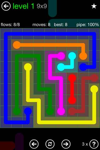Solution and Answer to the Puzzle for Flow Green Pack Set 9x9 Level 1