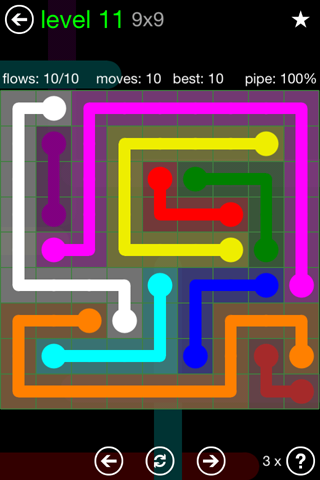 Solution and Answer to the Puzzle for Flow Green Pack Set 9x9 Level 11